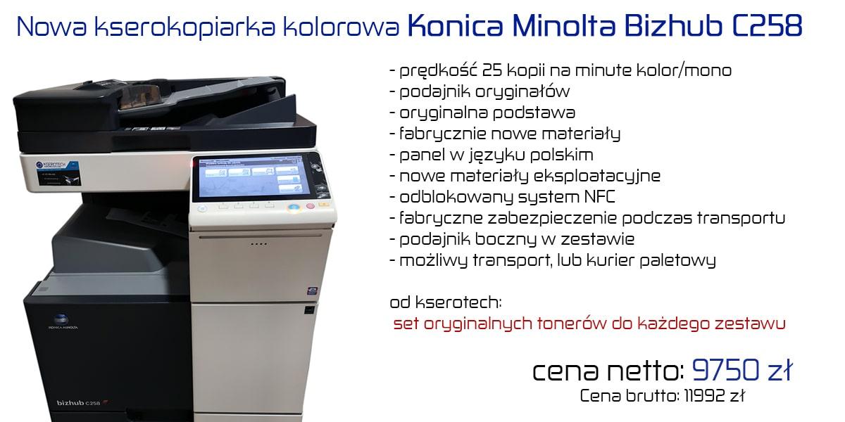 Nowa kserokopiarka kolorowa Konica Minolta Bizhub C258