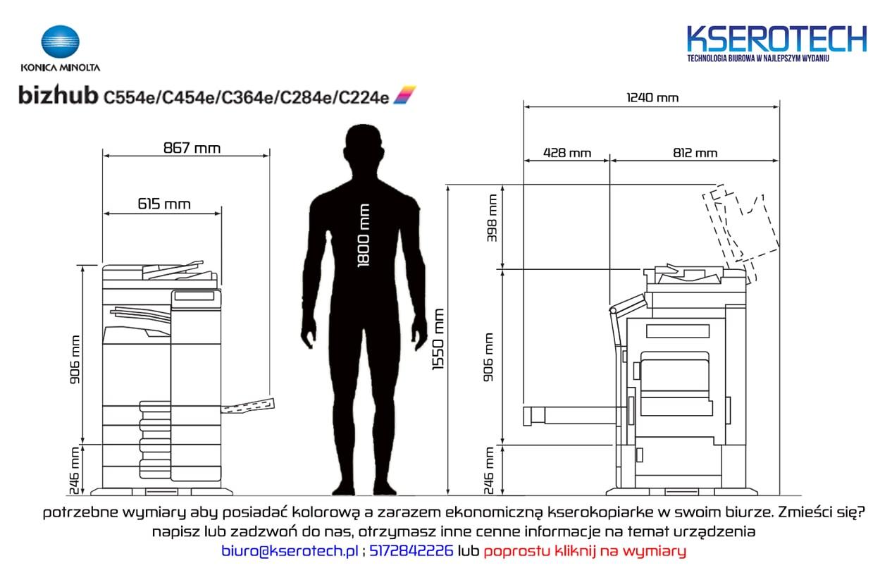wymiary kserokopiarki Konica Minolta Bizhub C224 C224e C454e